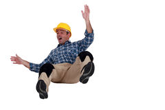Construction worker falling Royalty Free Stock Photo