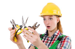 Construction worker female with pliers isolated Royalty Free Stock Photography