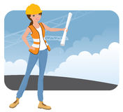 Construction Worker. Female construction worker on site Royalty Free Stock Photography