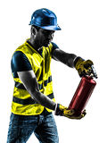 Construction worker fire extinguisher silhouette Royalty Free Stock Image