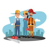 Construction worker and firefighter. At construction zone vector illustration graphic design Stock Photo