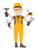 Construction Worker Flat Character, Building Man Specialists Rea Stock Photos
