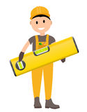 Construction Worker Flat Character, Building Man Specialists Rea Stock Image