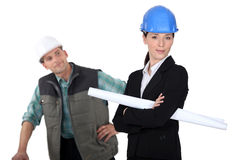 Construction worker flirting Stock Image