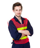 Construction worker with fluorescent vest Stock Photography