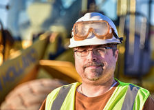 Construction Worker/Foreman. On site in frame left royalty free stock image