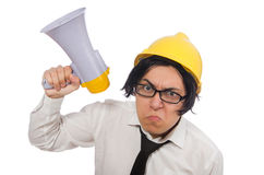 The construction worker in funny concept on white Royalty Free Stock Photos