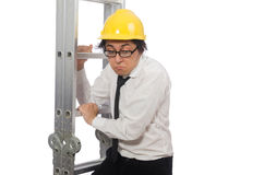 The construction worker in funny concept on white Royalty Free Stock Photography