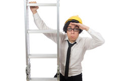 The construction worker in funny concept on white Stock Photo