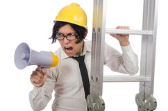 The construction worker in funny concept on white Stock Image