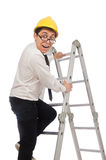 The construction worker in funny concept on white Stock Images