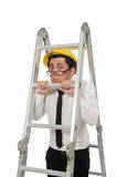 The construction worker in funny concept on white Royalty Free Stock Image