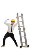 The construction worker in funny concept on white Royalty Free Stock Images