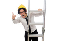 Construction worker in funny concept on white Stock Photos