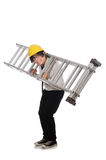Construction worker in funny concept on white Royalty Free Stock Photos