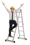 Construction worker in funny concept on white Royalty Free Stock Images