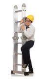 Construction worker in funny concept on white Stock Image