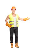 Construction worker gesturing with his hand Stock Photos