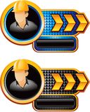 Construction worker on gold arrow checkered banner Stock Photo