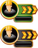 Construction worker on gold arrow nameplates Stock Image
