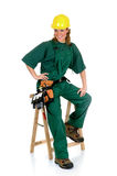 Construction worker, green Royalty Free Stock Image