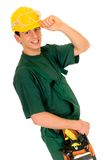 Construction worker, green Royalty Free Stock Images