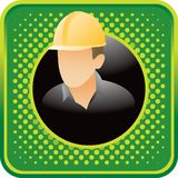 Construction worker on green halftone web icon Royalty Free Stock Photography