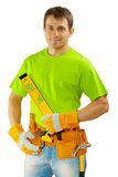 Construction worker in green t-shirt Stock Photos