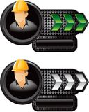 Construction worker on green and white arrow ads Royalty Free Stock Photo