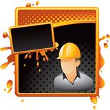 Construction worker on halftone grungy banner Stock Images