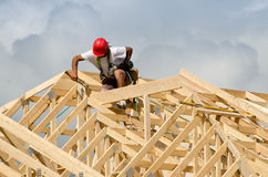 Construction worker with a hammer Stock Photography