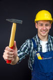 Construction worker with a hammer Stock Photo