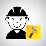 Construction worker hammer graphic. Vector illustration eps 10 Royalty Free Stock Images