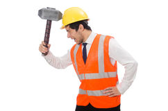 Construction worker with hammer isolated on white Royalty Free Stock Images