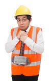 Construction worker with hammer isolated on white Stock Photos