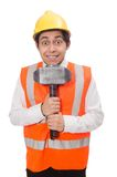 Construction worker with hammer isolated on white Stock Photography