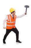 Construction worker with hammer isolated on the Royalty Free Stock Photos