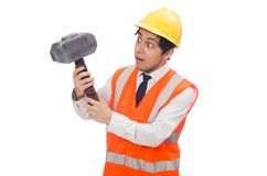 Construction worker with hammer isolated on the Stock Photography