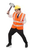 Construction worker with hammer isolated on the Royalty Free Stock Photo