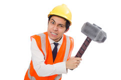 Construction worker with hammer isolated on the Royalty Free Stock Image
