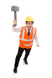 Construction worker with hammer isolated on white Royalty Free Stock Photography