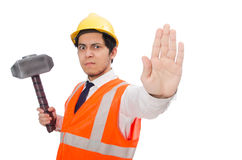 Construction worker with hammer isolated on white Stock Image
