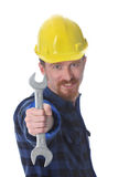 Construction worker handle double wrench Stock Photo