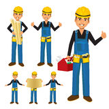 Construction worker or handyman with toolbox Stock Photo