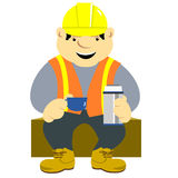 Construction Worker. A happy construction worker on coffee break sitting on box drinking coffee Stock Illustration
