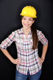 Construction worker happy woman portrait Royalty Free Stock Images