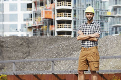 Construction worker in hard hat Royalty Free Stock Photography