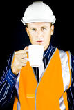 Construction worker having coffee Stock Photo