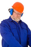 Construction worker with hearing protection Royalty Free Stock Image