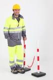 Construction worker with helmet Stock Image